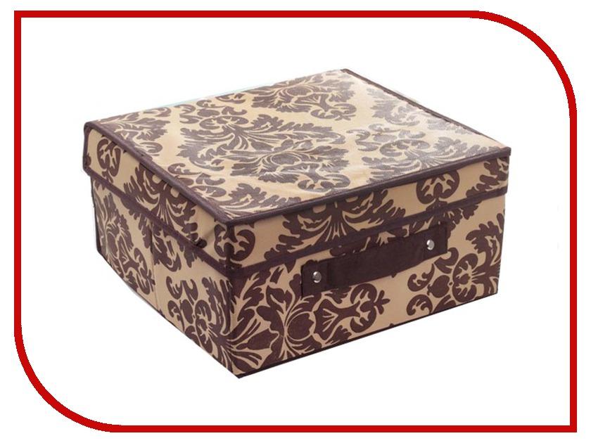 Аксессуар Короб для хранения Доляна Вензель 30x28x15cm Вензель Brown-Beige 1159117 миска овальная 9см платиновый вензель 1033605