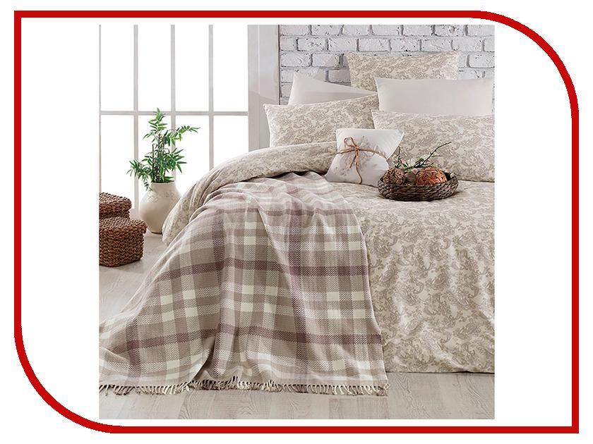 Постельное белье Arya Squart с пледом Комплект 1.5 спальный Ранфорс Brown TR1003777