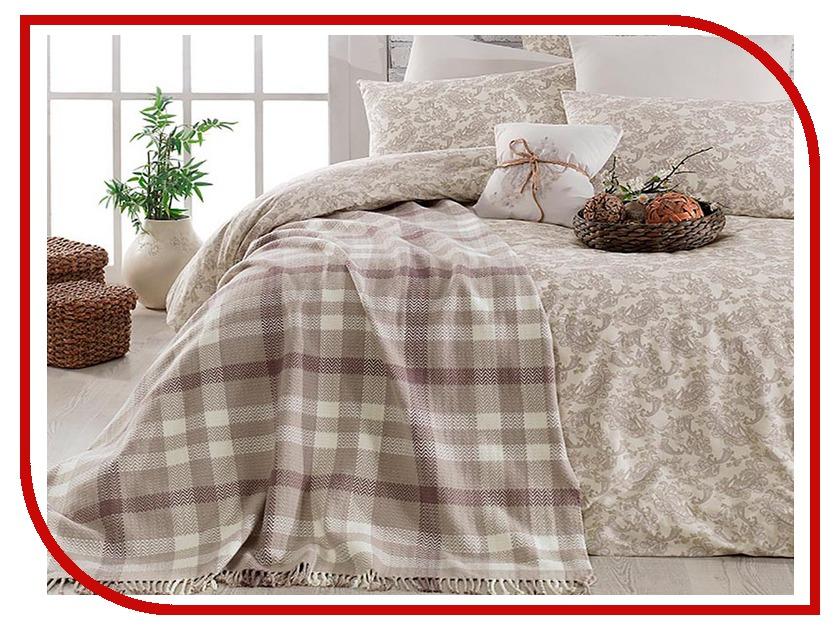 Постельное белье Arya Squart с пледом Комплект 2 спальный Ранфорс Brown TR1002185