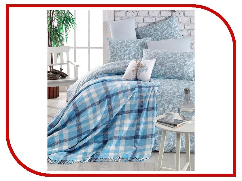 Постельное белье Arya Squart с пледом Комплект 1.5 спальный Ранфорс Blue TR1003777