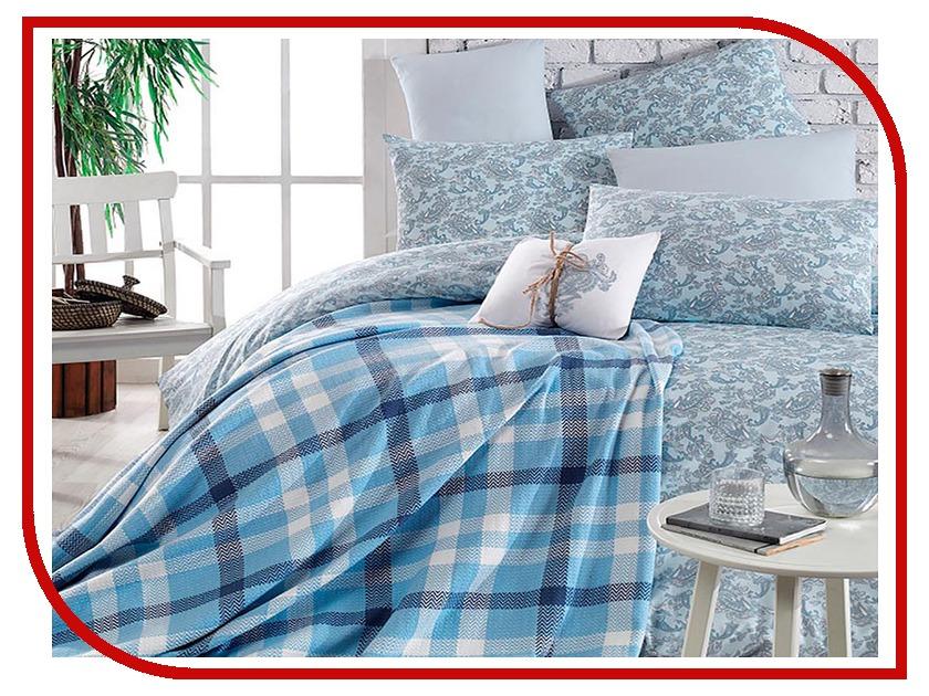 Постельное белье Arya Squart с пледом Комплект 2 спальный Ранфорс Blue TR1002185