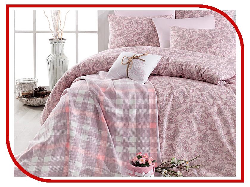 Постельное белье Arya Squart c пледом Комплект 1.5 спальный Ранфорс Dry Rose TR1003777