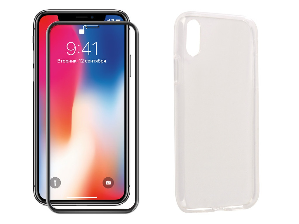 Аксессуар Защитное стекло + накладка Innovation для APPLE iPhone X 5D Lux Black 11696