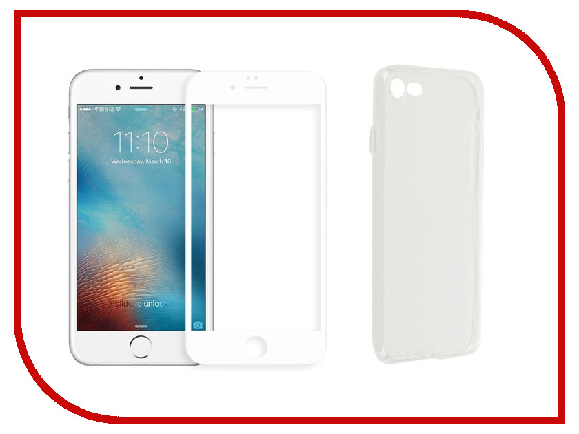 Аксессуар Защитное стекло + накладка для APPLE iPhone 7 / 8 Innovation 5D Lux White 11701 аксессуар защитное стекло pero 2 5d для apple iphone 7 8 gold prmg i78g