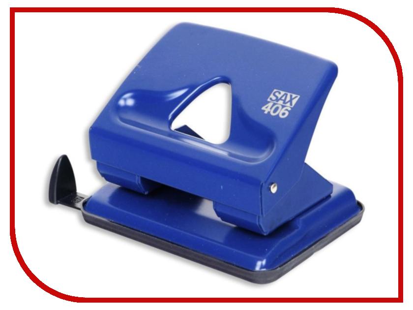 Дырокол SAX 406 до 30л с линейкой Blue 50989 406