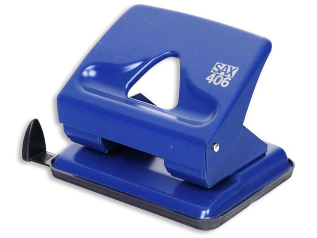 Дырокол SAX 406 до 30л с линейкой Blue 50989