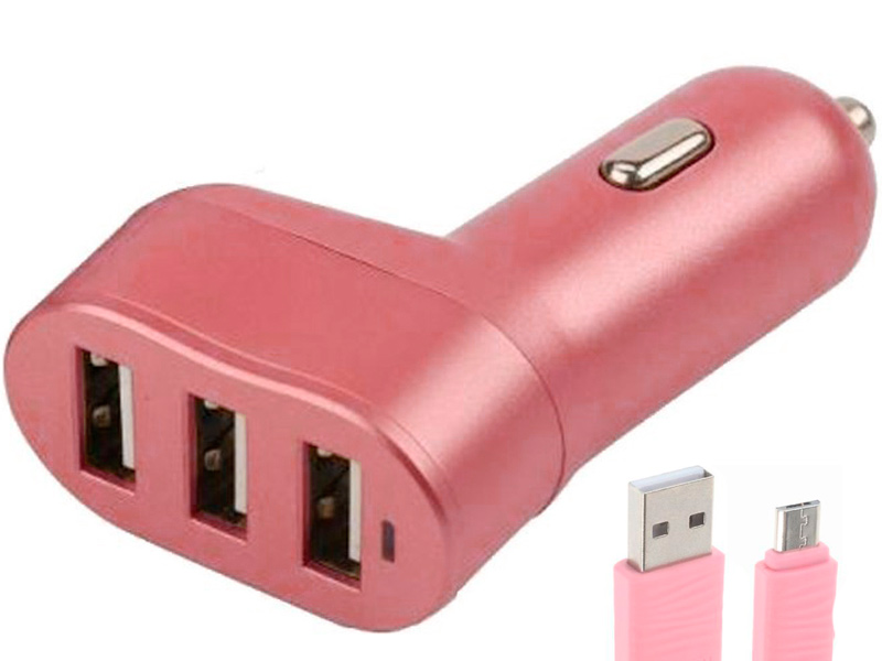 Зарядное устройство Earldom ES-150 3xUSB 5.8A + MicroUSB Pink
