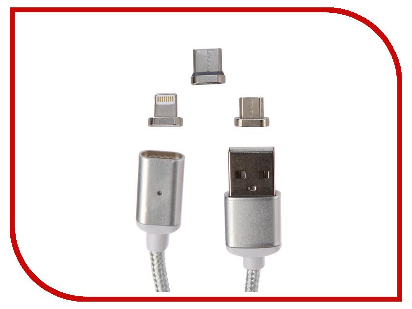 Аксессуар Earldom MC63 USB - microUSB/Type-C/Lightning 8pin Silver аксессуар recci armor rcl t100 usb lightning 8pin gold