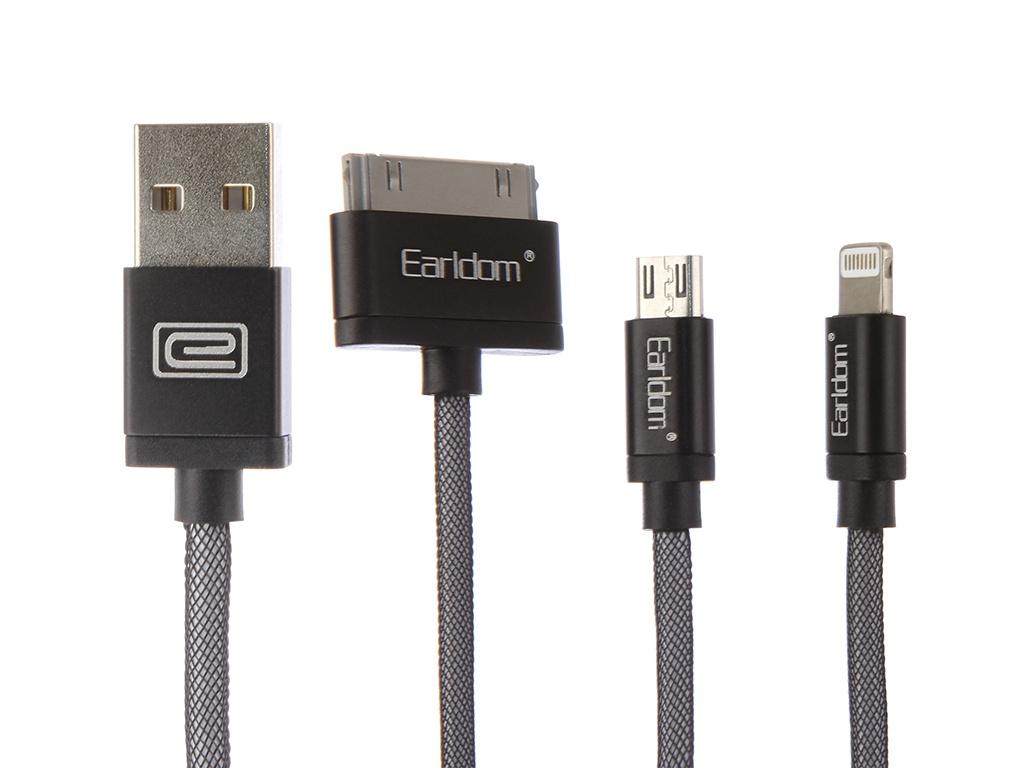 цены на Аксессуар Earldom ET-877 USB - microUSB/microUSB/Lightning 8pin Black  в интернет-магазинах