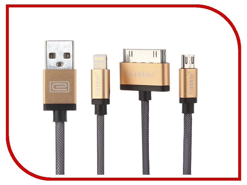 Аксессуар Earldom ET-877 USB - microUSB/microUSB/Lightning 8pin Gold часы guess w70015l2