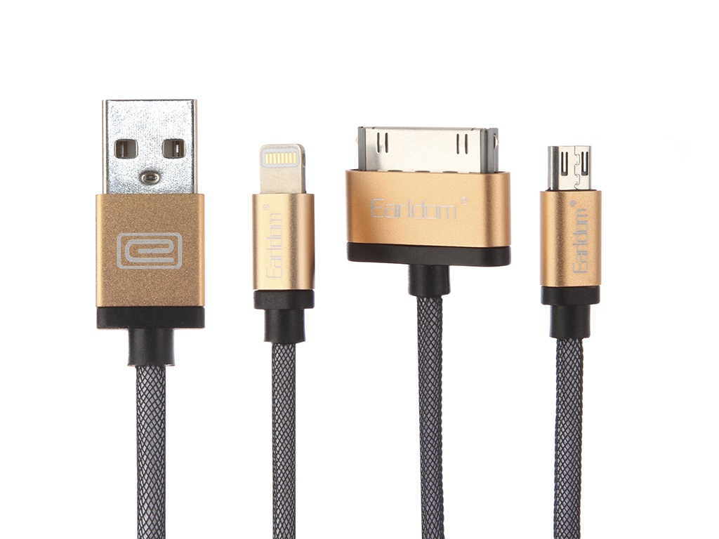 Аксессуар Earldom ET-877 USB - microUSB/microUSB/Lightning 8pin Gold