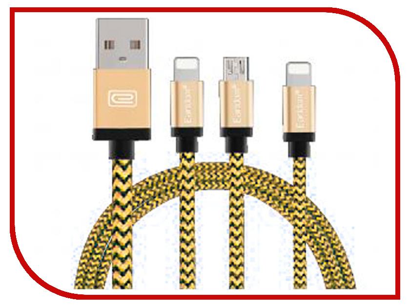Аксессуар Earldom ET-346 USB - microUSB/Lightning 8pin/Lightning 8pin Gold earldom et e2 gold