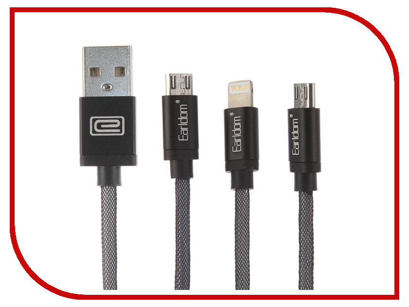 Аксессуар Earldom ET-887 USB - microUSB/Lightning 8pin/30pin Black 5pcs ribbon cable 6pin 8pin 10pin 12pin 14pin 20pin 30pin 40pin 50pin reverse 100mm 10cm 0 5 b type for lenovo for asus for acer