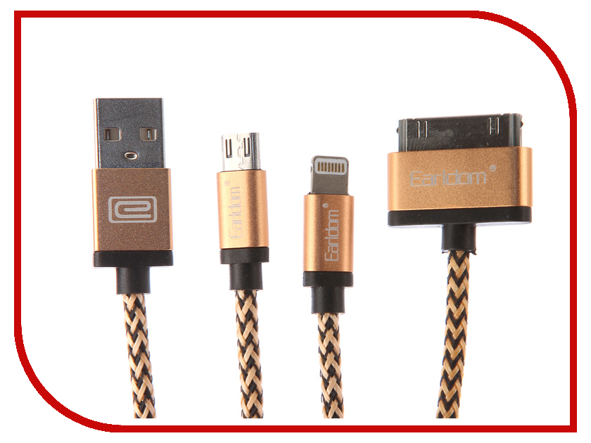 Аксессуар Earldom ET-346 USB - microUSB/Lightning 8pin/30pin Gold earldom et e2 gold