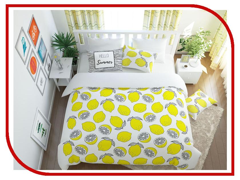 Постельное белье Сирень Лимонный фреш Комплект Семейный Полисатин 7920-КПБС