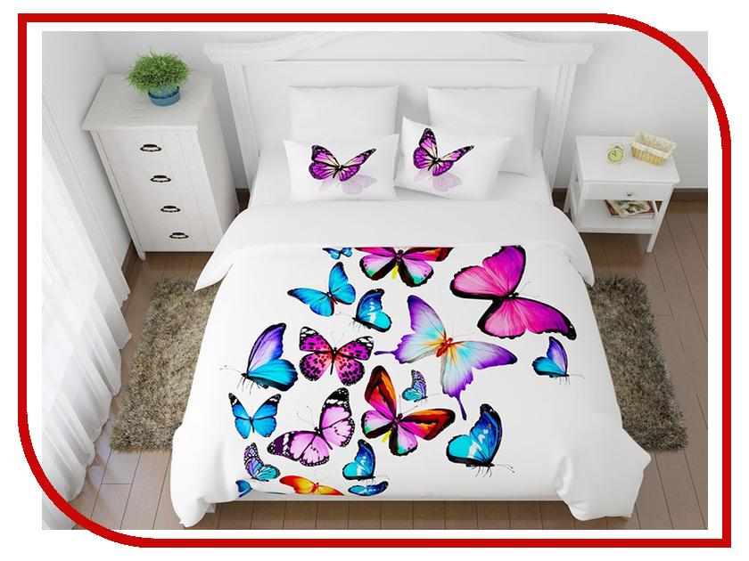 Постельное белье Сирень Яркие бабочки Комплект Семейный Полисатин 8447-КПБС