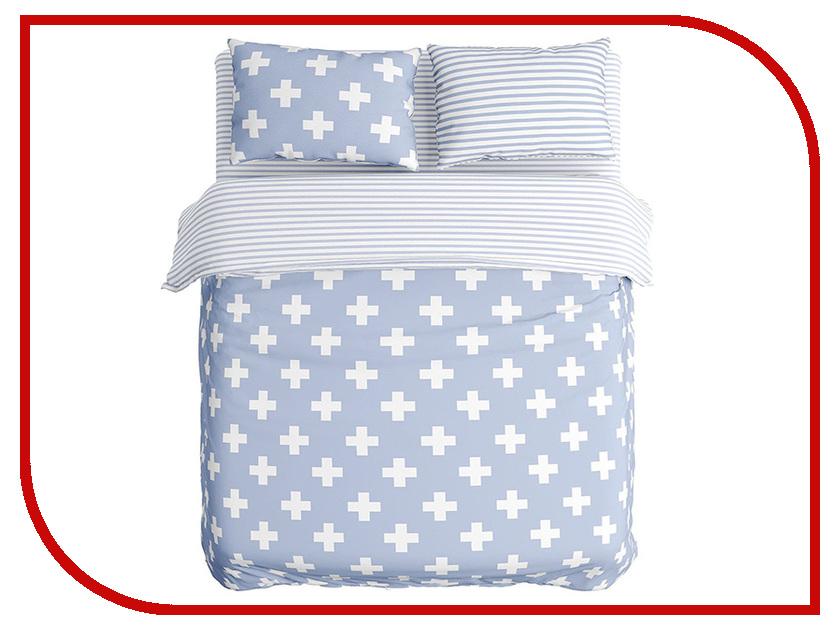 Постельное белье Сирень Крестики Комплект Евро Полисатин КПБЕМ-10417 постельное белье эго комплект 1 5 спальный полисатин