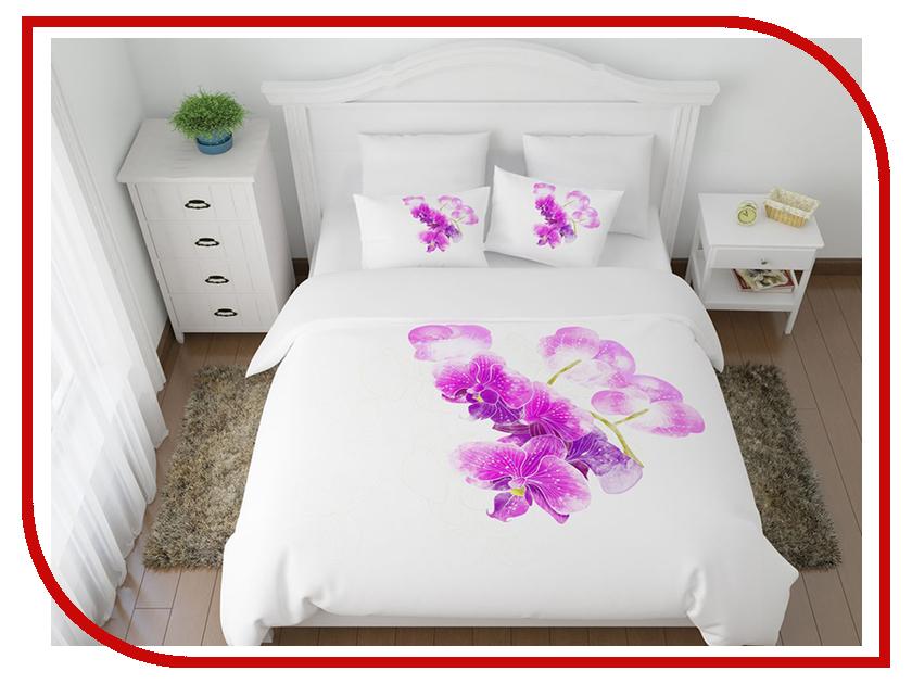 Постельное белье Сирень Ветка орхидеи Комплект 1.5 спальный Полисатин 08428-КПБ кпб 1 5 сп простая жизнь сирень кпб 1 5 сп простая жизнь