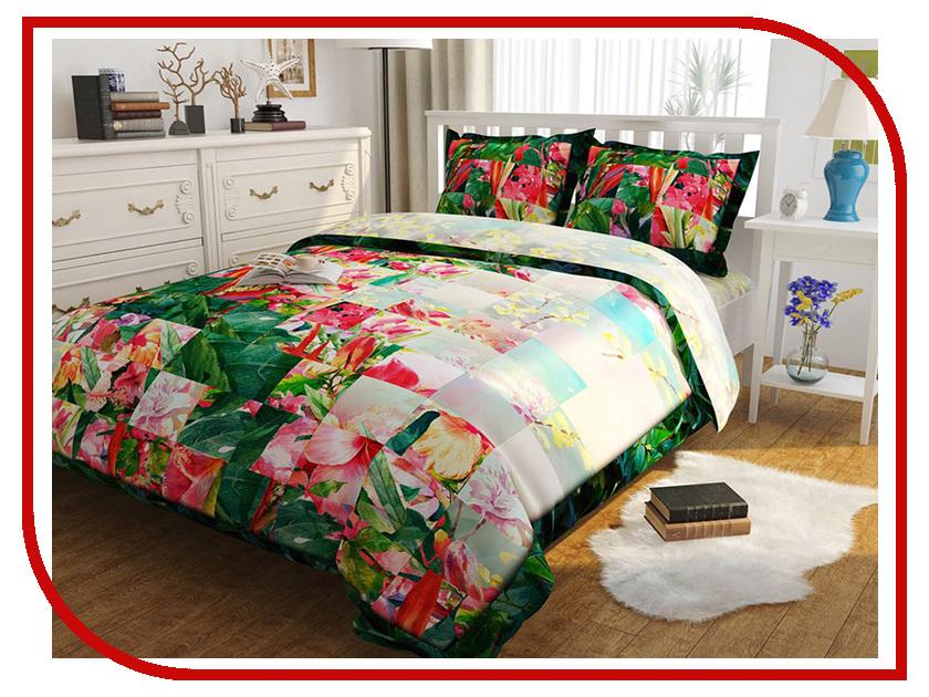 Постельное белье Сирень Цветочная фантазия Комплект Евро Полисатин КПБЕМ-10405 постельное белье эго комплект 1 5 спальный полисатин