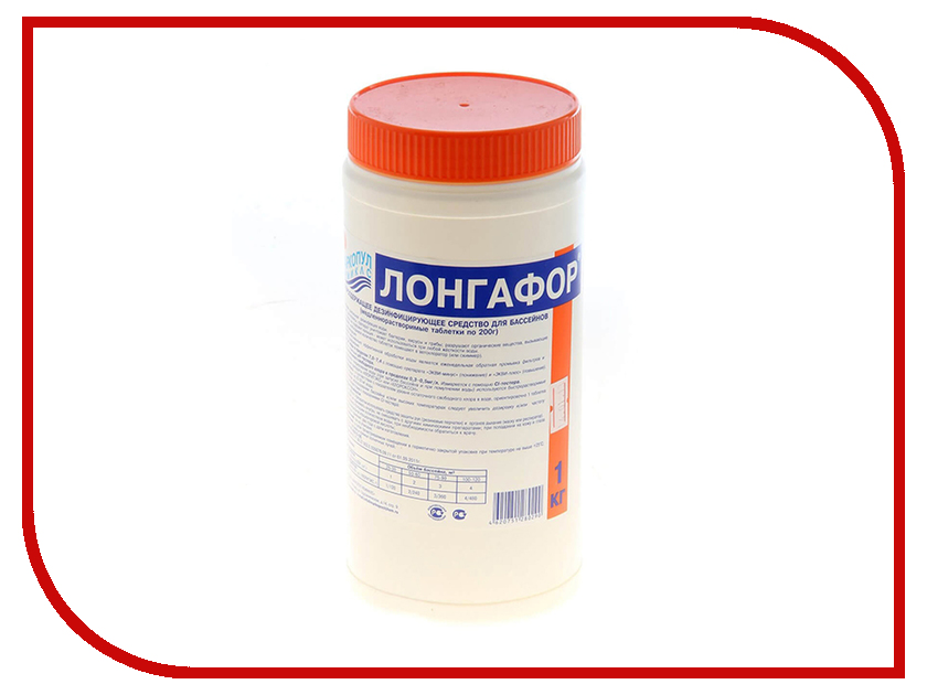 Хлор для непрерывной дезинфекции воды Маркопул-Кэмиклс Лонгафор медленнорастворимый 1кг М16
