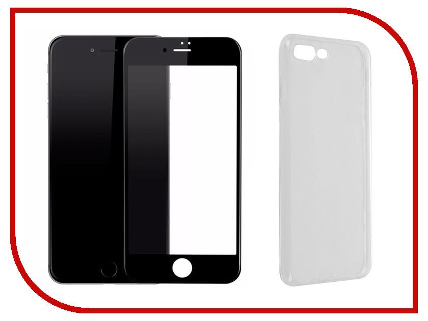 Аксессуар Защитное стекло + накладка для APPLE iPhone 7 Plus / 8 Plus Innovation Lux 5D Black 11704 аксессуар защитное стекло pero 2 5d для apple iphone 7 8 gold prmg i78g