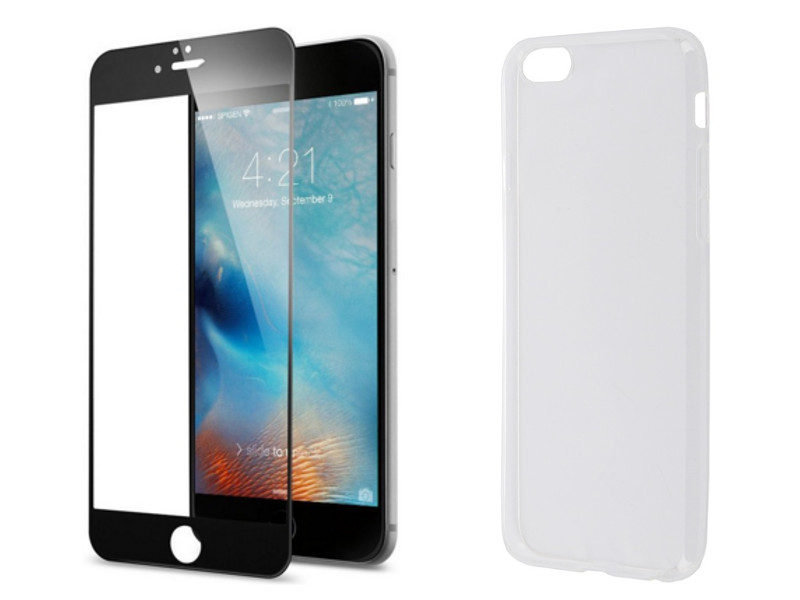 Аксессуар Защитное стекло + накладка Innovation для APPLE iPhone 6 / 6S Lux 5D Black 11697