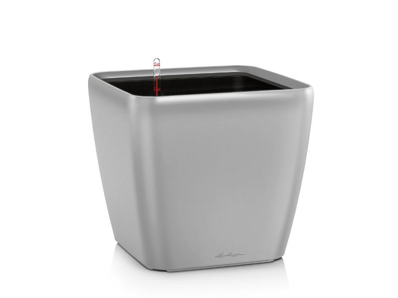 Кашпо Lechuza Квадро LS 21 с системой полива Silver 16128 кашпо квадро ls 35 с системой полива белое lechuza