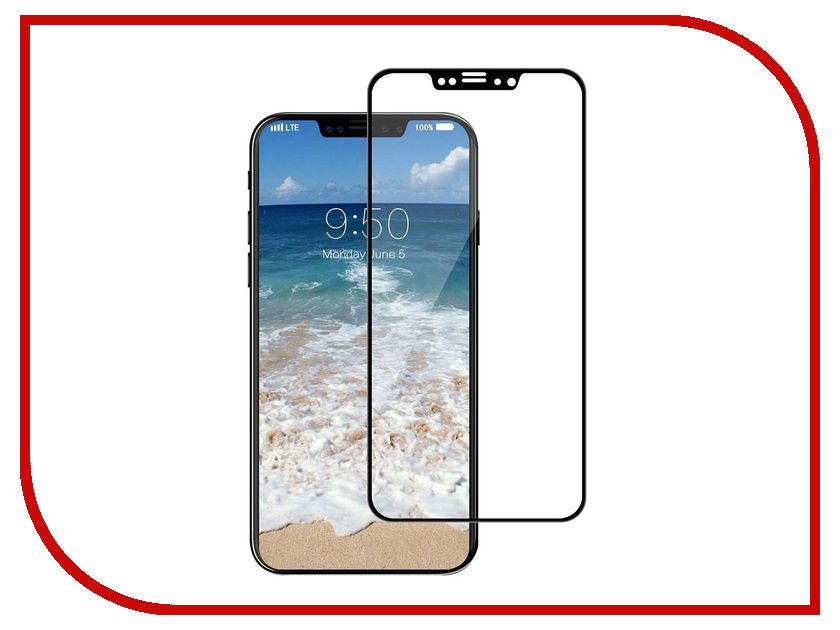 Аксессуар Защитное стекло LuxCase 3D для APPLE iPhone X Black Frame Антибликовое 77938