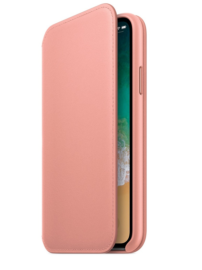 Аксессуар Чехол APPLE iPhone X Leather Folio Soft Pink MRGF2ZM/A