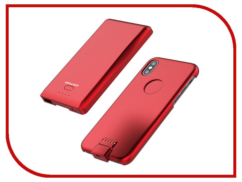 Аксессуар Чехол-аккумулятор Awei B2 Battery Capacity для IPhone X 4400mAh Red