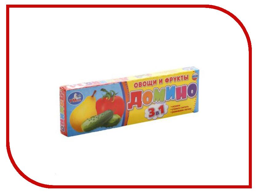 Настольная игра Умка Домино Овощи и фрукты 3в1 4690590112090 настольная игра росмэн овощи фрукты ягоды 20988