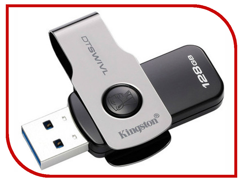 USB Flash Drive 128Gb - Kingston DataTraveler Swivl USB 3.0 Metal DTSWIVL/128GB usb flash drive 8gb kingston datatraveler locker g3 dtlpg3 8gb
