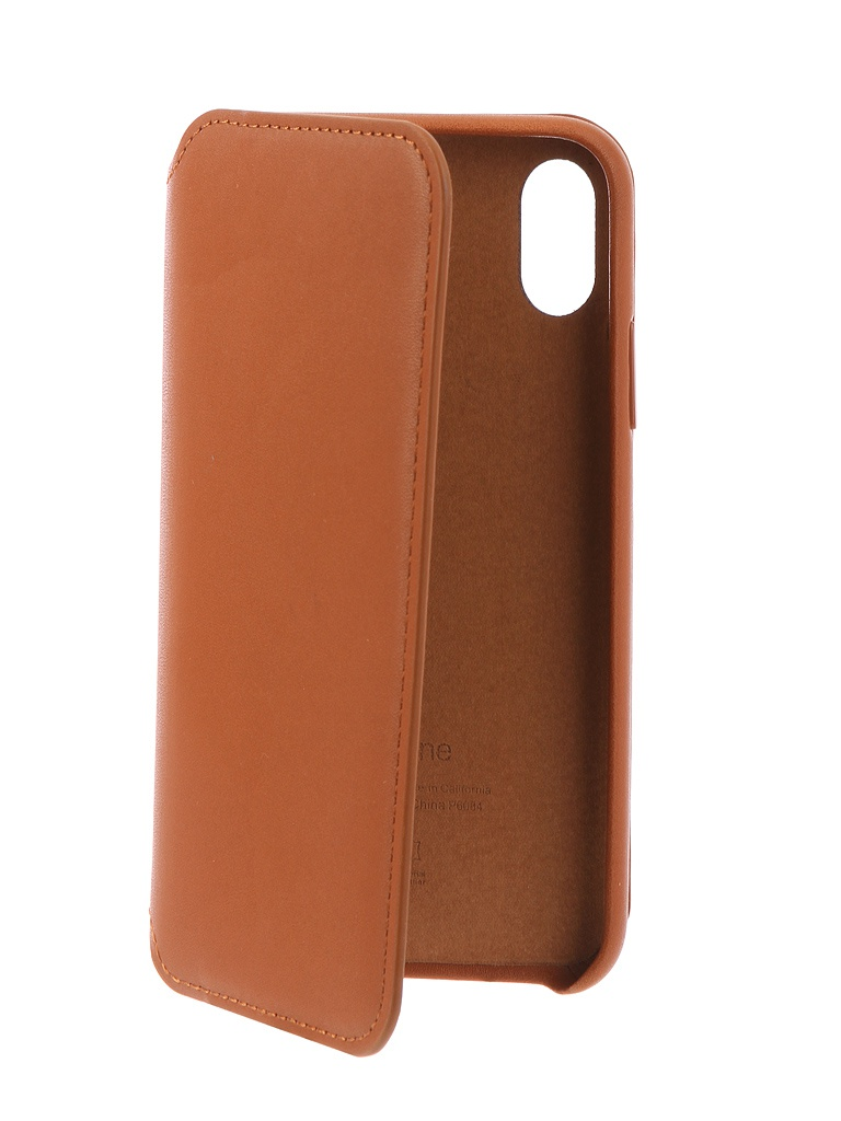 Чехол Krutoff для Apple iPhone X Leather Folio Dark Seddle Brown 10829