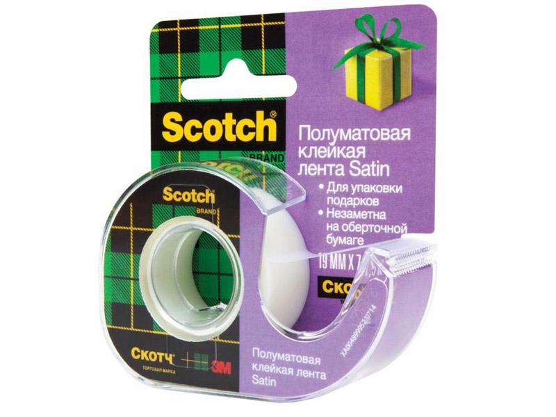 Клейкая лента 3M Scotch Satin 19mm x 7.5m на диспенсере Полуматовая
