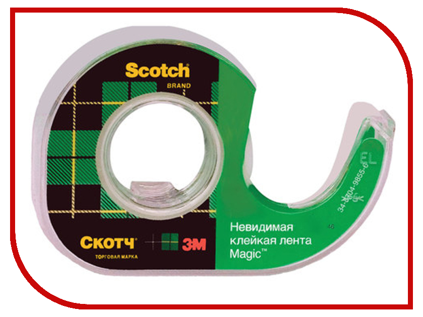 Клейкая лента 3M Scotch Magic 19mm x 7.5m на диспенсере Невидимая 70005076974 3m scotch blue 2090 safe release crepe paper multi surfaces painters masking tape 27 lbs in tensile strength 60 yds length x 2 width blue pack of 24