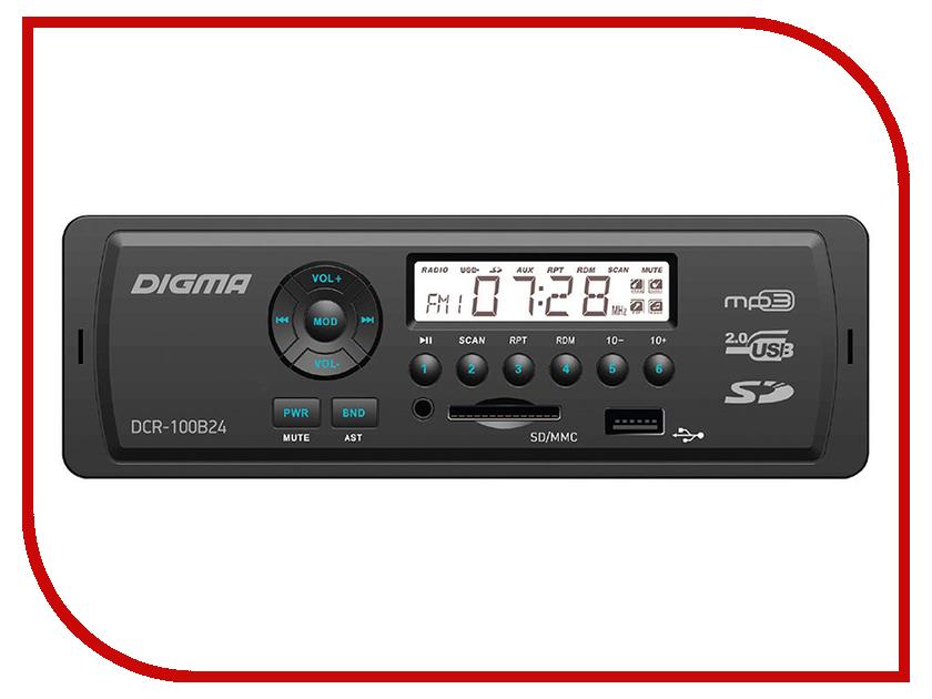 Автомагнитола Digma DCR-100B24 автомагнитола digma dcr 320g 1din 4x45вт