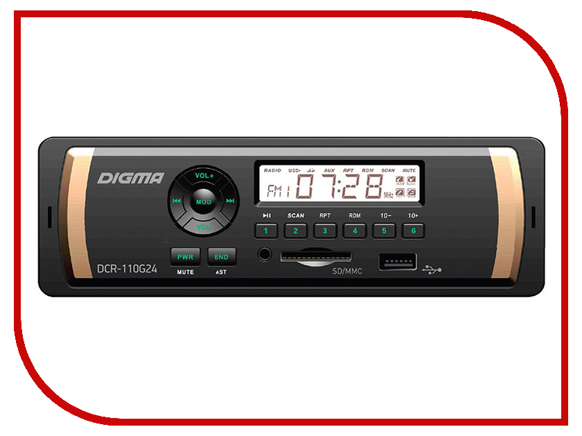 Автомагнитола Digma DCR-110G24 автомагнитола digma dcr 100b24