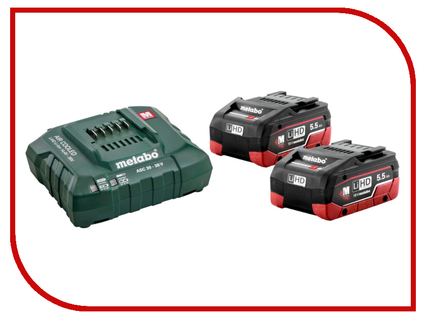 Комплект Metabo Basic-Set 5.5 2 x LiHD 18V 5.5Ah ASC30-36 685122000