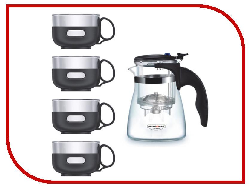 Набор Veitron Заварочный чайник 750ml + 4 чашки 150ml LP-575A чайник заварочный veitron 600 мл