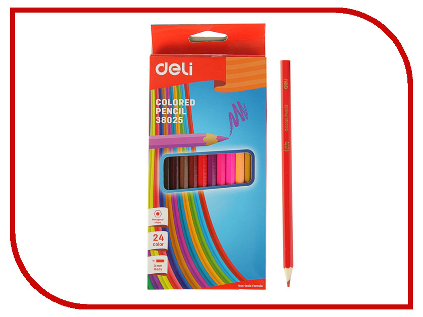 Карандаши цветные Deli 24 цвета E38025 цветные карандаши bic kids evolution 24 цвета