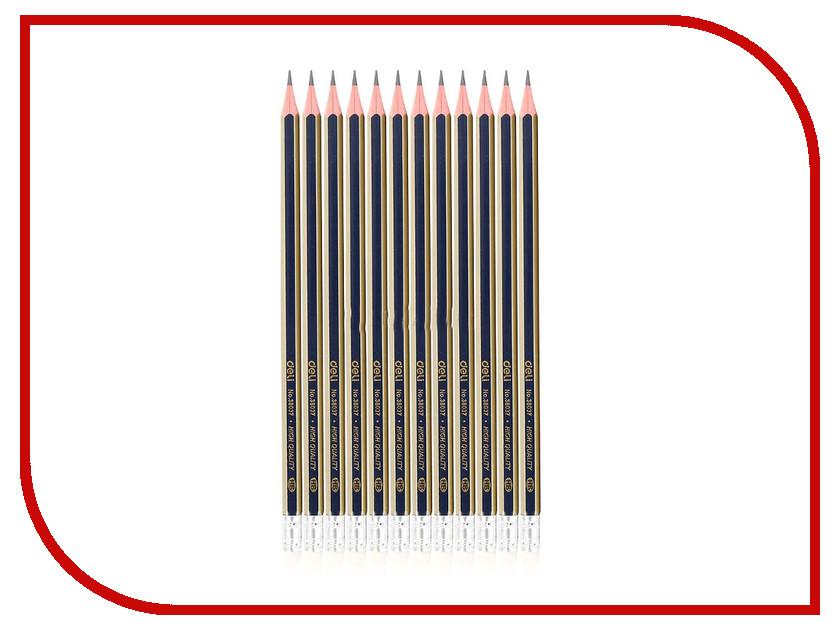 Карандаш чернографитный Deli 12шт E38037 калькулятор deli 1654