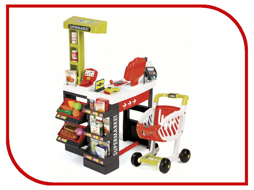 Игра Smoby Супермаркет с тележкой Red 350210 smoby smoby кухня cook master red