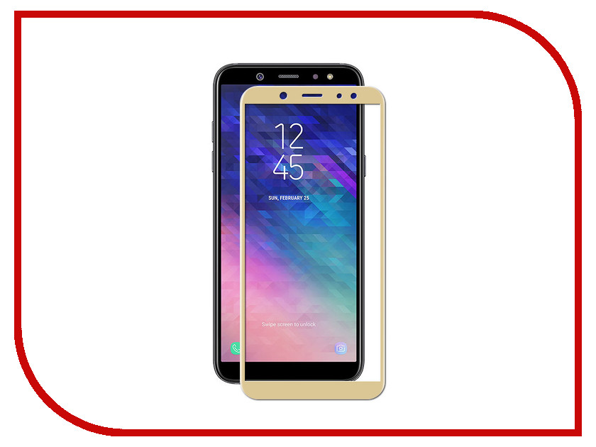 Аксессуар Защитное стекло для Samsung Galaxy A6 2018 Red Line Full Screen Tempered Glass Gold УТ000015332