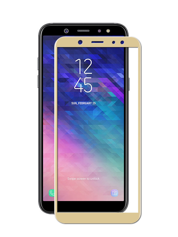 Аксессуар Защитное стекло Red Line для Samsung Galaxy A6 2018 Full Screen Tempered Glass Gold УТ000015332