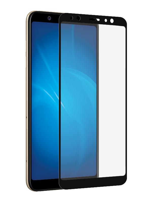 Аксессуар Защитное стекло Onext для Samsung Galaxy A6 с рамкой Black 41687 защитное стекло для samsung g925f galaxy s6 edge onext изогнутое по форме дисплея с прозрачной рамкой