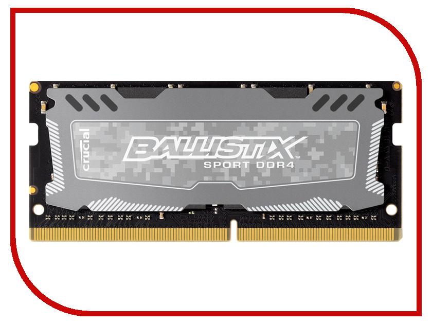 Модуль памяти Crucial Sport LT DDR4 SO-DIMM 2400MHz PC4-12800 CL16 - 8Gb BLS8G4S240FSD модуль памяти crucial ballistix sport lt red ddr4 dimm 2666mhz pc4 21300 cl16 8gb bls8g4d26bfse