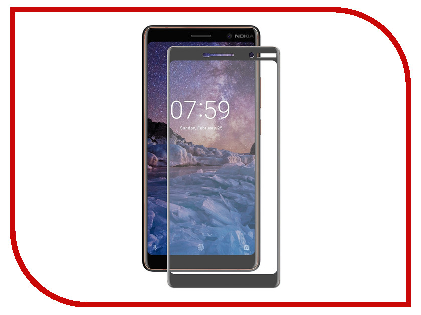 Аксессуар Защитное стекло для Nokia 7 Plus Krutoff Full Screen Black 02617 tested screen for nokia lumia 720 lcd n720 display with touch screen digitizer with frame full assembly 1 piece free shipping