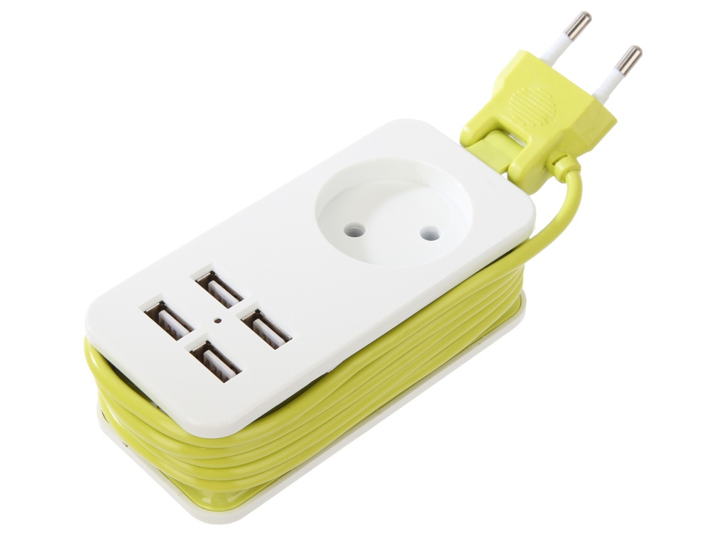 Удлинитель Uniel Travel 1 Socket 2 USB 1.5m White-Green S-CT1-1.5U
