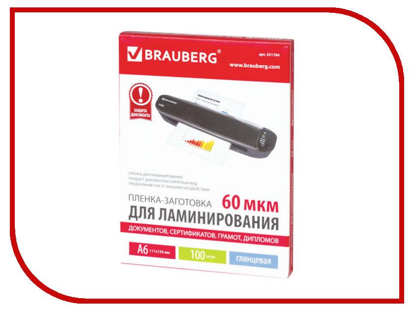 Пленка для ламинирования Brauberg А6 100шт 60мкм 531784 цена