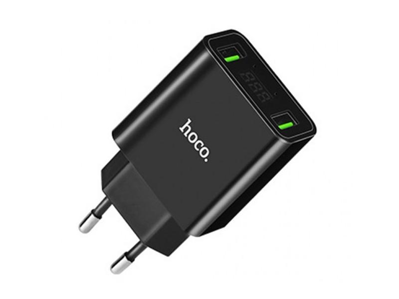 Зарядное устройство Hoco C25A Cool LED 2xUSB 4.4A Black